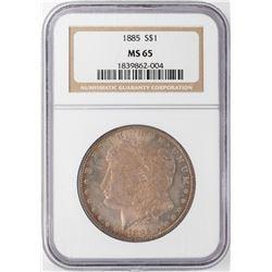 1885 $1 Morgan Silver Dollar NGC MS65 Nice Toning