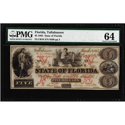 1864 $5 State of Florida Tallahassee Cr.34 Obsolete Note PMG Choice Uncirculated 64