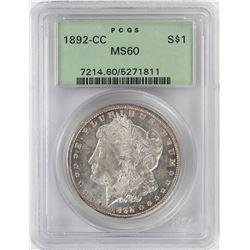 1892-CC $1 Morgan Silver Dollar Coin PCGS MS60 Old Green Holder