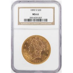 1890-S $20 Liberty Head Double Eagle Gold Coin NGC MS61