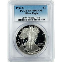 1987-S $1 Proof American Silver Eagle Coin PCGS PR70DCAM