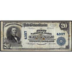 1902PB $20 First NB of Washington, North Carolina CH# 4997 National Currency Note