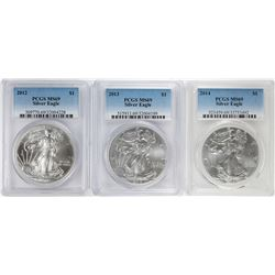Lot of 2012-2014 $1 American Silver Eagle Coins PCGS MS69