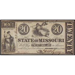 1862 $20 State Of Missouri Jefferson City Obsolete Note