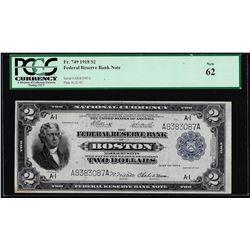 1918 $2 Battleship Federal Reserve Bank Note Boston Fr.749 PCGS New 62