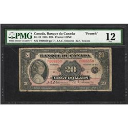 """1935 $20 Banque du Canada """"French"""" Bank Note BC-10 PMG Fine 12"""