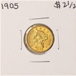 1905 $2 1/2 Liberty Head Quarter Eagle Gold Coin