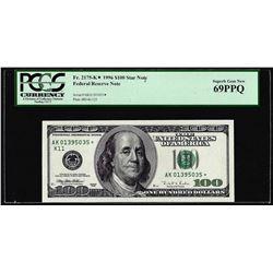 1996 $100 Federal Reserve STAR Note Fr.2175-K* PCGS Superb Gem New 69PPQ