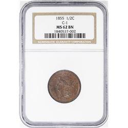 1855 Braided Hair Half Cent Coin NGC MS62 BN