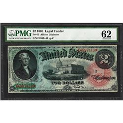 1869 $2 Rainbow Legal Tender Note Fr.42 PMG Uncirculated 62