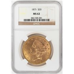 1875 $20 Liberty Head Double Eagle Gold Coin NGC MS62