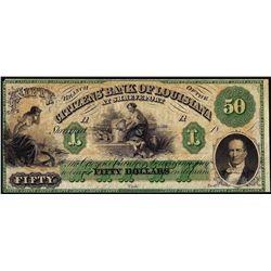 1800's $50 Citizens Bank of Louisiana at Shreveport, LA Obsolete Banknote