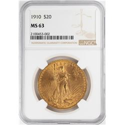 1910 $20 St. Gaudens Double Eagle Gold Coin NGC MS63