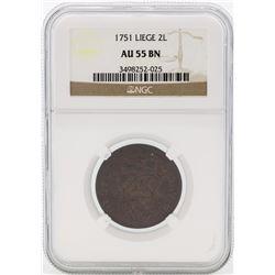 1751 Liege 2 Liards Copper Coin NGC AU55 BN