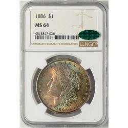 1886 $1 Morgan Silver Dollar Coin NGC MS64 CAC Amazing Toning