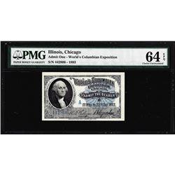 1893 World's Columbian Exposition Ticket Washington PMG Choice Uncirculated 64EPQ