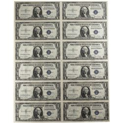 Uncut Sheet of (12) 1935D $1 Silver Certificate Notes Fr.1613