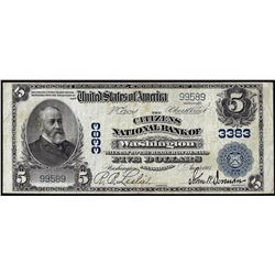 1902 PB $5 Citizens NB of Washington, Pennsylvania CH# 3383 National Currency Note
