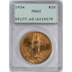 1924 $20 St. Gaudens Double Eagle Gold Coin PCGS MS62 Green Rattler Holder