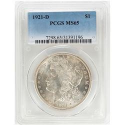 1921-D $1 Morgan Silver Dollar Coin PCGS MS65