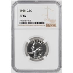 1958 Proof Washington Quarter Coin NGC PF67