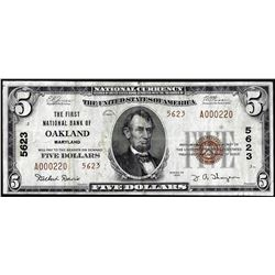 1929 $5 First NB in Oakland, MD CH# 5623 National Currency Note Low Serial Number