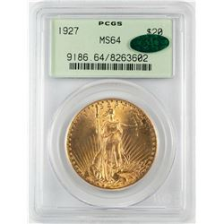 1927 $20 St. Gaudens Double Eagle Gold Coin PCGS MS64 CAC Old Green Holder