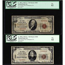 1929 $10/20 Citizens NB Washington, PA CH# 3383 National Currency Notes PCGS F12