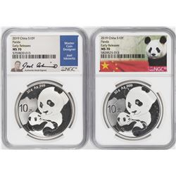 Lot of (2) 2019 China 10 Yuan Silver Panda Coins NGC MS70 Early Releases