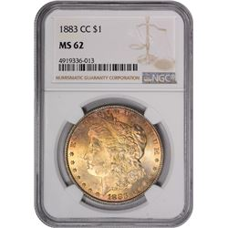 1882-CC $1 Morgan Silver Dollar Coin NGC MS62 Amazing Toning
