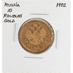 1902 Russia 10 Roubles Gold Coin