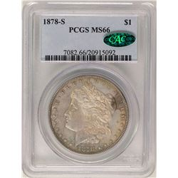 1878-S $1 Morgan Silver Dollar Coin PCGS MS66 CAC Nice Toning