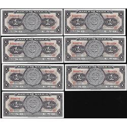 Lot of (7) 1967 Mexico Un Peso Aztec Calendar Notes