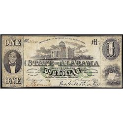 1863 $1 State of Alabama Obsolete Banknote