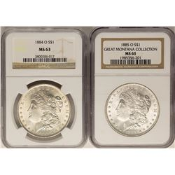 Lot of 1884-O & 1885-O $1 Morgan Silver Dollar Coins NGC MS63