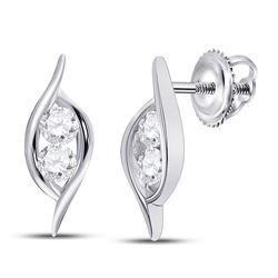 Diamond Bypass 2-stone Earrings 1/4 Cttw 14kt White Gold