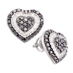 Round Black Color Enhanced Diamond Heart Cluster Screwback Earrings 1-1/2 Cttw 14kt White Gold
