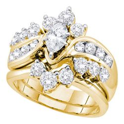 Marquise Diamond Bridal Wedding Engagement Ring Band Set 2.00 Cttw 14kt Yellow Gold
