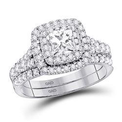 Diamond Double Halo Bridal Wedding Engagement Ring Band Set 1-1/2 Cttw 14kt White Gold