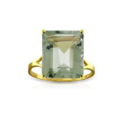 Genuine 6.5 ctw Green Amethyst Ring 14KT Yellow Gold - REF-43N8R