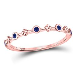 Round Blue Sapphire Dot Flower Stackable Band Ring 1/12 Cttw 10kt Rose Gold