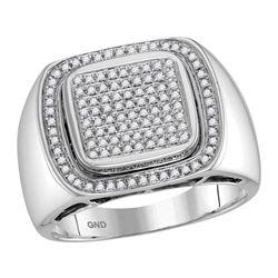 Mens Diamond Square Frame Cluster Ring 1/2 Cttw 10kt White Gold