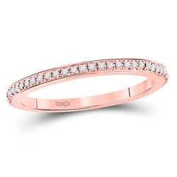 Diamond Single Row Stackable Band Ring 1/8 Cttw 10kt Rose Gold