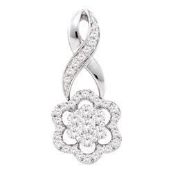 Diamond Twist Flower Cluster Pendant 1/2 Cttw 14kt White Gold