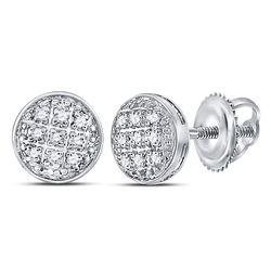 Mens Diamond Circle Cluster Earrings 1/20 Cttw 10kt White Gold