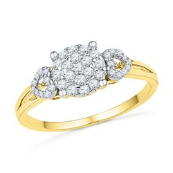 Diamond Concentric Cluster Heart Ring 1/3 Cttw 10kt Yellow Gold
