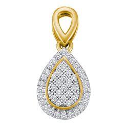 Diamond Cluster Oval Frame Teardrop Pendant 1/8 Cttw 10kt Yellow Gold
