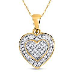 Diamond Layered Heart Cluster Pendant 1/6 Cttw 10kt Yellow Gold