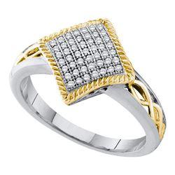 Diamond Diagonal Square Milgrain Frame Cluster Ring 1/6 Cttw 10kt White Gold