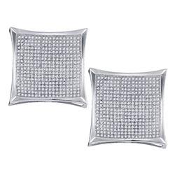 Diamond Square Kite Cluster Screwback Earrings 1-7/8 Cttw 10kt White Gold